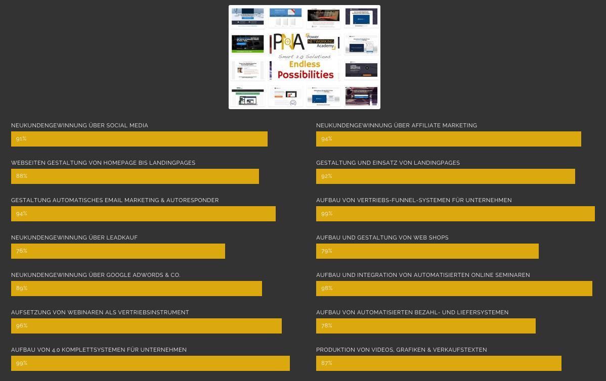 Leistungsspektrum der PNA - Full Service Agentur München Online Marketing & Online Vertrieb
